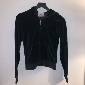 Juicy Couture velour fitted zip up. Black